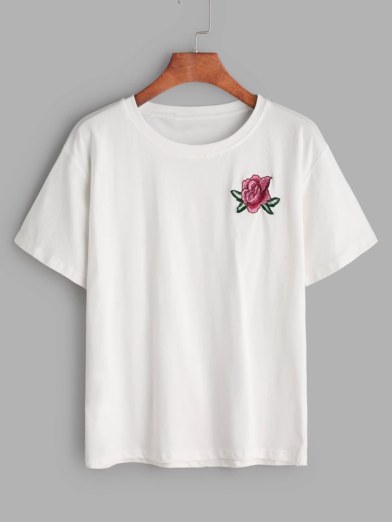 White Flower Embroidered Tshirt  ROMWE