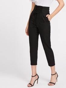 Pantalones capri con cordón delantero