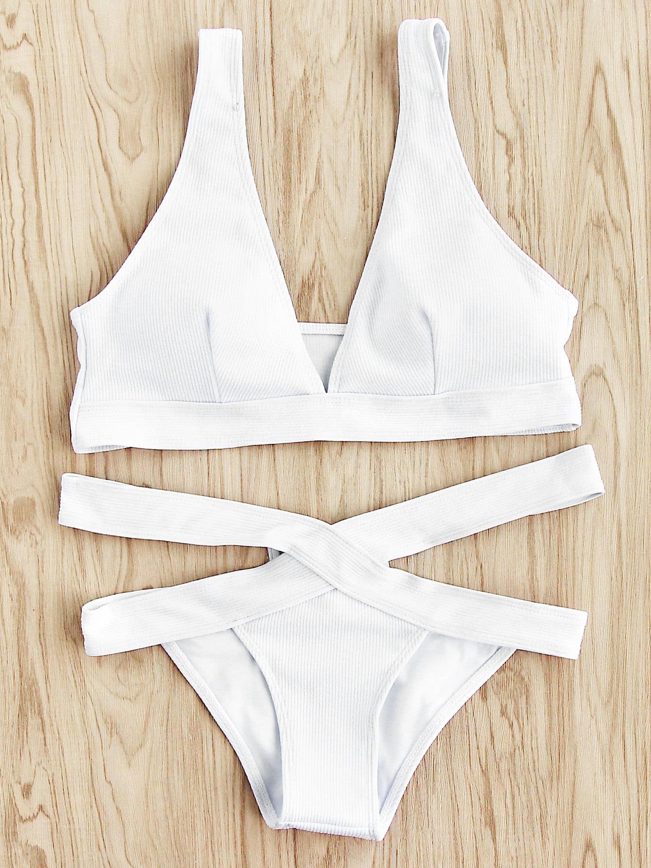 Cutout Waist Ribbed Bikini Set