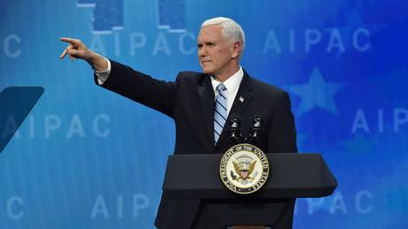 US-Vizepräsident Mike Pence bei der jährlichen Konferenz der AIPAC, einer der mächtigsten Lobbygruppen in Washington. Für ihn steht fest: Israels Werte sind US-Werte, Israels Kampf ist der Kampf der USA.