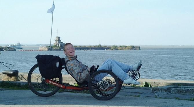 On a seaside trike ride