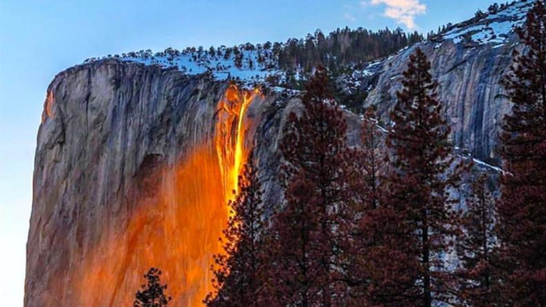 Yosemite Lava Falls Wallpaper Yosemite Firefall Illuminates Waterfall To Glow Like