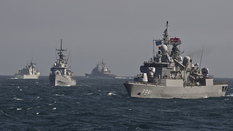 FILE PHOTO. War ships of the NATO Standing Maritime Group-2 take part in a military drill on the Black Sea. © AFP