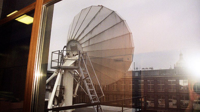 A satellite dish on the roof of the US-backed broadcaster Radio Free Europe/Radio Liberty (AFP Photo / Nana Jakrlova)