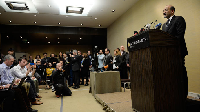 """Syrian National Coalition (SNC) leader Ahmad Jarba gives a press conference on the """"Geneva II"""" peace talks, on January 23, 2014 at the Intercontinental hotel in Geneva.(AFP Photo / Philippe Desmazes)"""