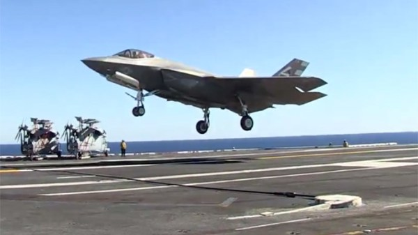 Landmark event F35C successfully lands aboard aircraft
