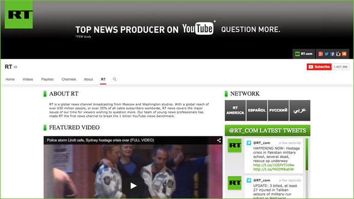 It's official: RT is most watched news network on YouTube with over 2bn views — RT News