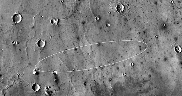 La región Elysium Planitia, una llanura muy cercana al ecuador de Marte.