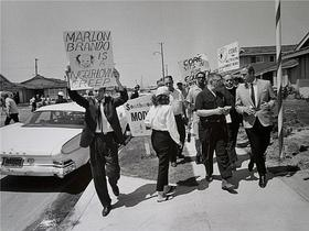 Marlon Brando Confronted at a Civil Rights Protest in 1960.  Photo by Barry Feinstein.