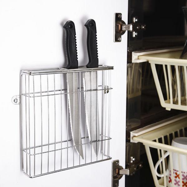 不鏽鋼壁式門後板刀具架 菜刀架 瀝水架 - 露天拍賣