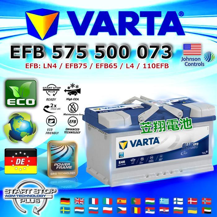 ☼臺中苙翔電池 德國進口 VARTA 華達 E46 EFB 75Ah KUGA 原廠升級規格 EFB技術電池 - 露天拍賣