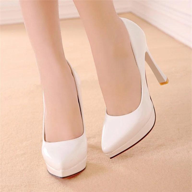 大尺碼高跟鞋 1611 34-43碼 白 超高跟鞋/漆皮高跟鞋/尖頭高跟鞋/厚底高跟鞋 潘潘 - 露天拍賣