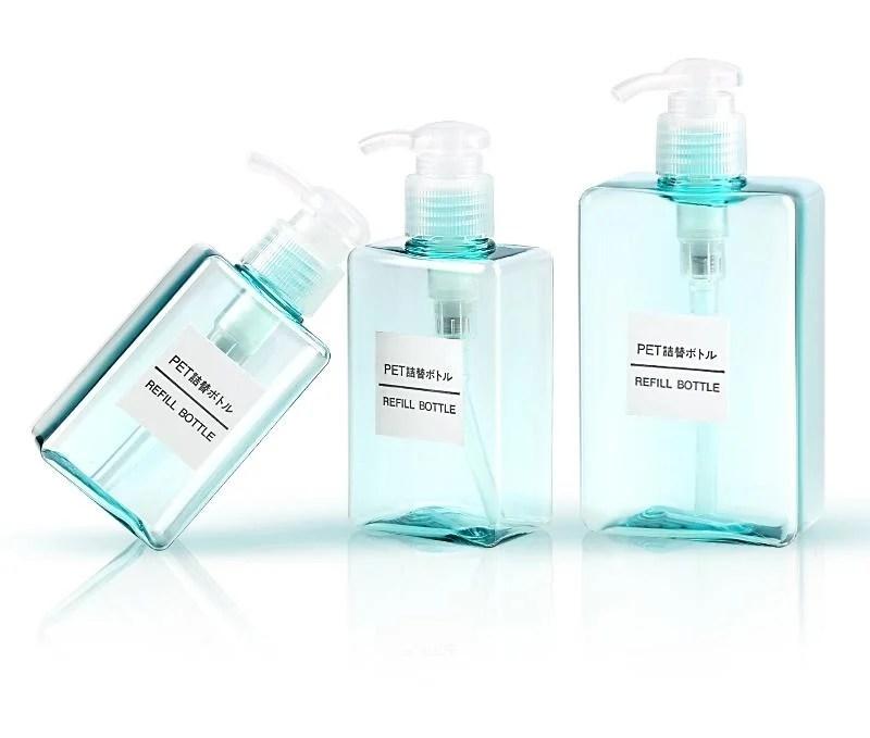 DIY 280ml 按壓瓶 化妝水.沐浴乳分裝瓶.乳液四方瓶.洗髮精 擠壓瓶 (粉藍款) - 露天拍賣