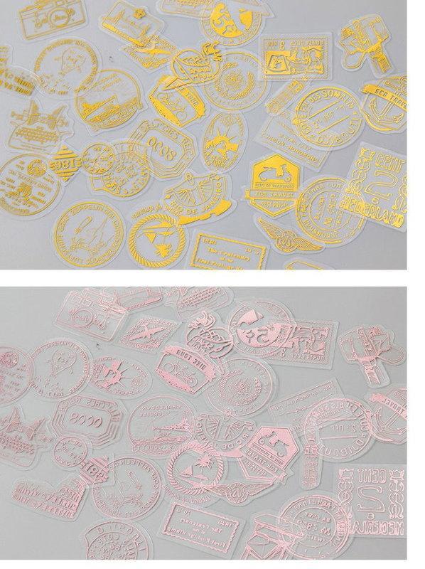 復古創意燙銀PVC裝飾素材//DIY紙藝美編素材~燙銀花體英文貼片包(45枚入) | 露天拍賣