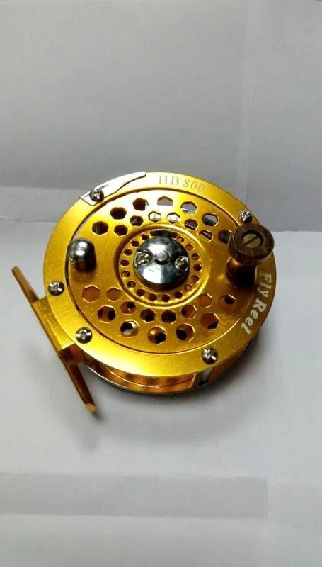 金黃色前打輪 HB 800 飛蠅 飛釣 筏釣 放流 金屬捲線器輪 E - 露天拍賣
