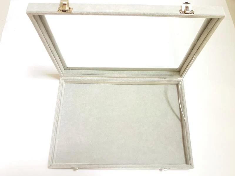 灰色絨布戒指盒項鍊珠寶盒玻璃飾品盒帶蓋戒指盤玻璃蓋珠寶盒 (24*35*4.5)) - 露天拍賣