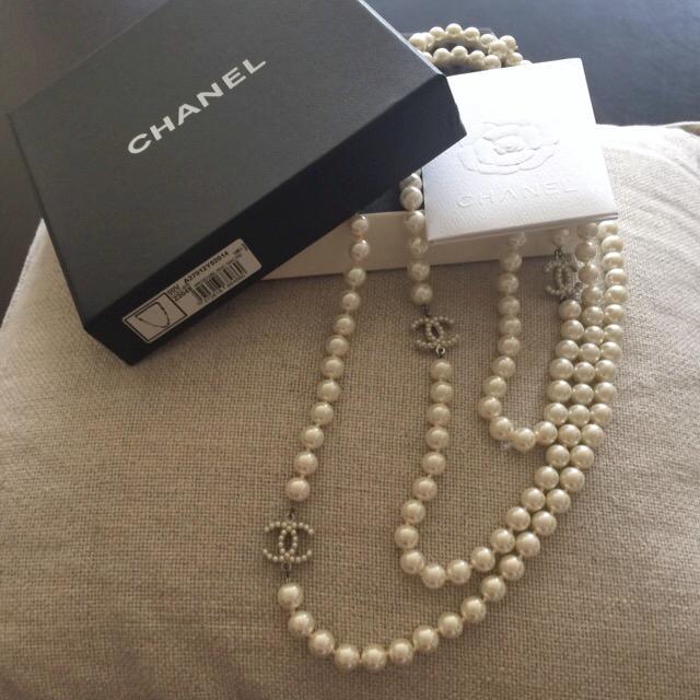 真品經典Chanel珍珠項鍊(長鍊) - 露天拍賣