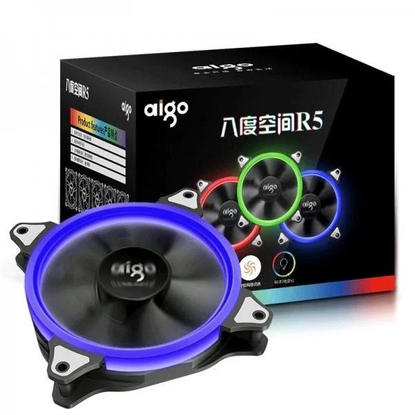~協明~ aigo 八度空間 R5 智能變色 12公分 光環系統 / 5顆RGB風扇12CM+控制器1個 - 露天拍賣