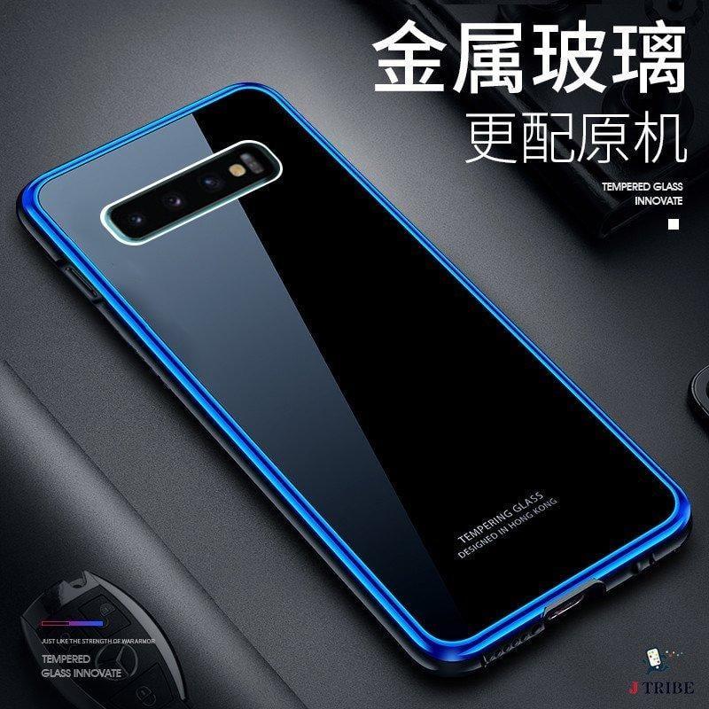 三星 Galaxy S10 plus手機殼 防摔 s10 s10+ 金屬邊框 鋼化玻璃背蓋 全包 透明 金屬殼 冰炫系列 - 露天拍賣