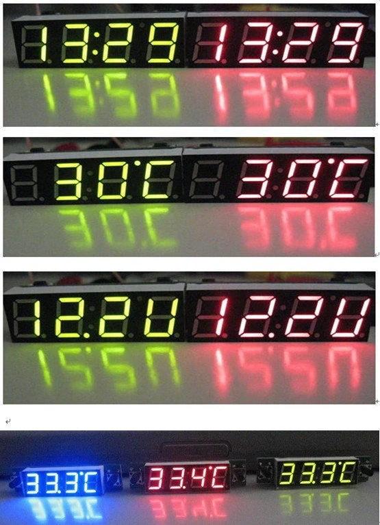 車用電子時鐘 多功能電子表 【時間+溫度+電壓】 三合一電子表 時間表 溫度表 電壓表 汽車機車電子鐘 機車 ...