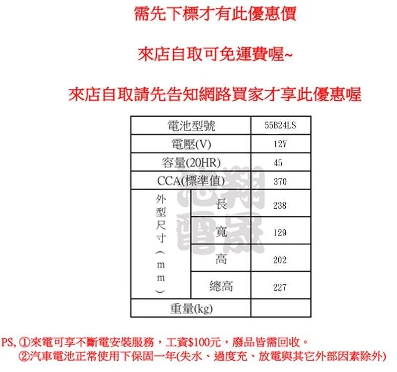 彰化員林翔晟電池/全新湯淺YUASA加水式汽車電池55B24LS(46B24LS,GTH60LS舊品強制回收安裝工資另計 - 露天拍賣