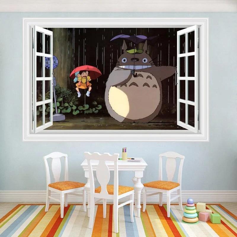【微景小舖】龍貓立體3D壁貼 創意牆貼 客廳背景牆壁 室內教室佈置 防水牆壁貼 客廳佈置 大門玻璃窗戶貼畫 ...