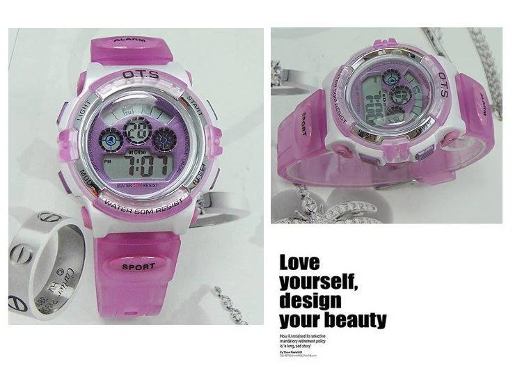 ots正品潮流LED時尚品牌學生手錶兒童電子錶男孩兒童手錶女孩手錶 生活防水 OTS 833L 淡紫色 - 露天拍賣