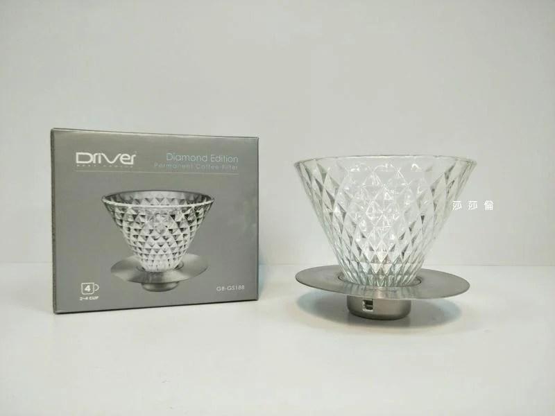 ==咖啡流域==Driver 鑽石濾杯 2-4cup GB-GS188 食品級SGS耐熱玻璃 不銹鋼 錐型濾杯 玻璃濾杯 - 露天拍賣