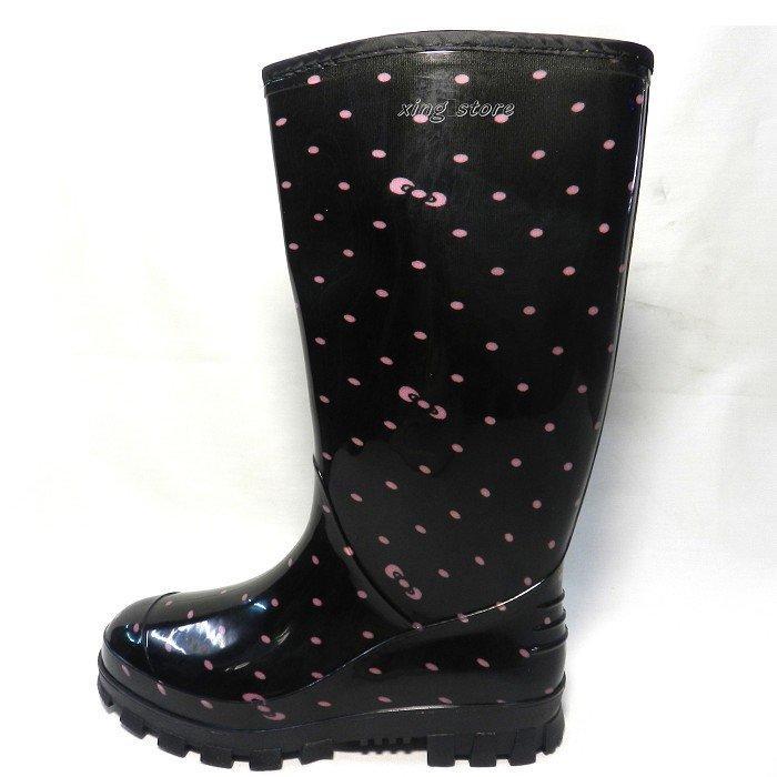 {皇力牌}高級彩色女用長雨靴~100%防水~ 長靴 ~雨鞋 ~雨靴 ~適合任何需要防水工作環境~柔軟舒適~(黑粉點) - 露天拍賣