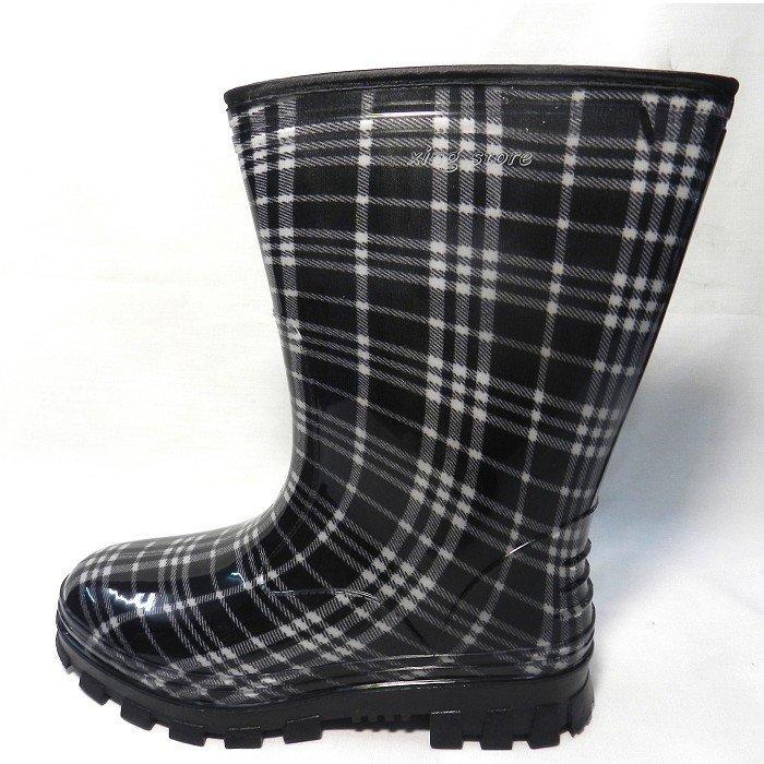 {皇力牌}高級彩色女用雨靴~100%防水~ 短靴 ~雨鞋 ~雨靴 ~適合任何需要防水工作環境~柔軟舒適~(黑格) - 露天拍賣