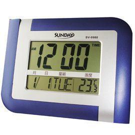 [時間達人] LCD萬年曆電子鐘,可設鬧鐘 時間 / 溫度 / 日期 / 星期顯示 座掛兩用 SV-9988 - 露天拍賣
