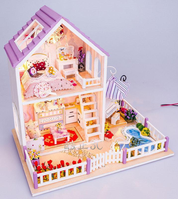 【酷正3C】DIY小屋 袖珍屋 娃娃屋 模型屋 材料包 玩具娃娃住屋 交換禮物 手工拼裝房子 13834浪漫紫時 - 露天拍賣