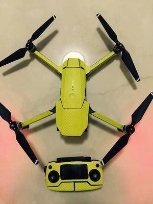 現貨!!『奇立模型』DJI 大疆 御 Mavic pro 機身 遙控器 貼紙 進口仿碳纖維-啞光黃 配件 - 露天拍賣