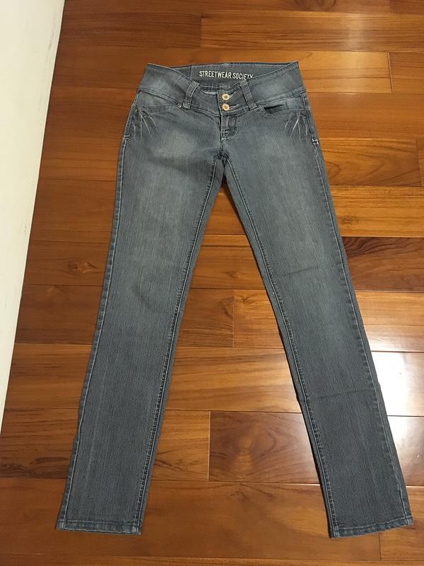鐵灰色牛仔直筒低腰長褲 - 露天拍賣