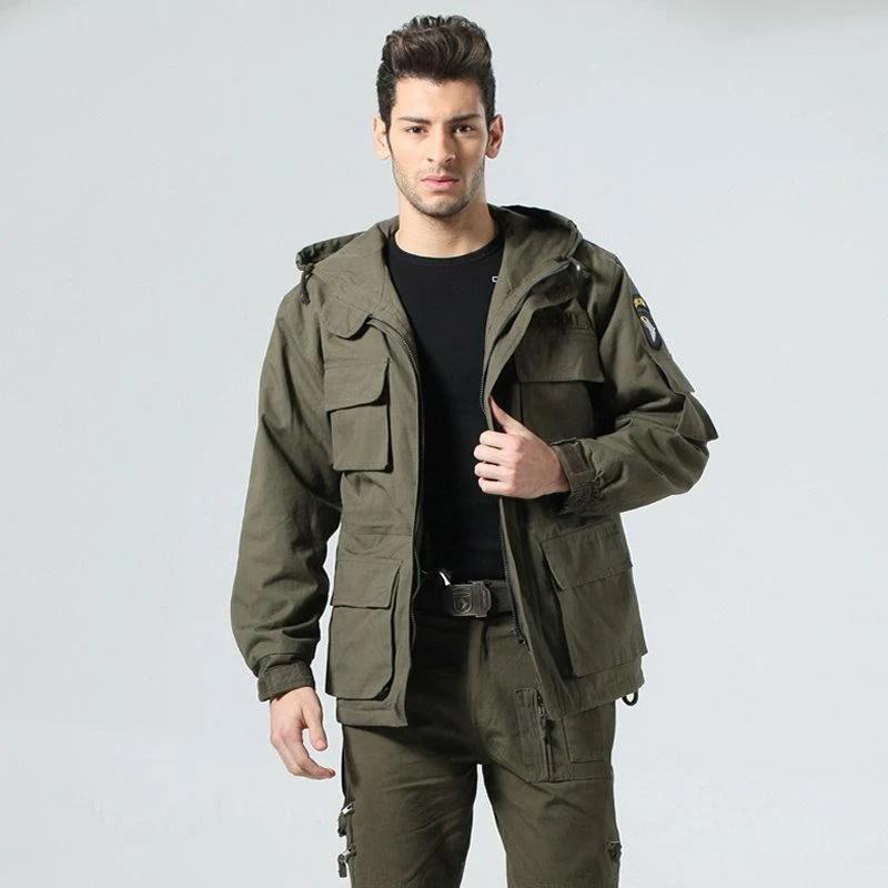 男款軍裝外套 軍事獵裝外套 101空降師 軍裝大衣 內抓絨 連帽外套 風衣外套 (軍綠/黑色) - 露天拍賣