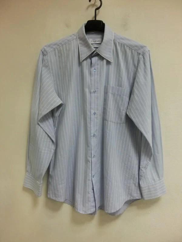 臺灣製造 CUMAR ITALY 39CM領圍 藍白條紋 長袖襯衫乙件 八五成新 - 露天拍賣