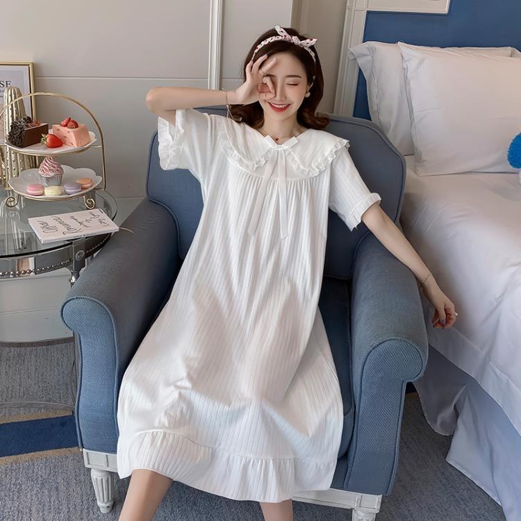 睡裙女夏純棉短袖可愛甜美仙女宮廷睡衣女春秋公主風長款睡裙寬鬆   露天拍賣