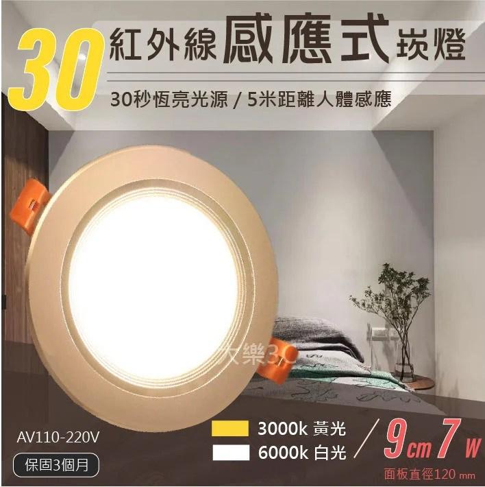 紅外線感應式LED崁燈 9公分7W 黃光 白光 30秒恆亮 現貨 - 露天拍賣