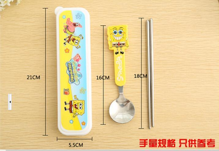 {~天天百貨~} 兒童餐具 勺子 筷子套裝 環保餐具組 兒童餐具 餐具組合 [ 兒童二件套餐具-海綿寶寶 #4433] - 露天拍賣