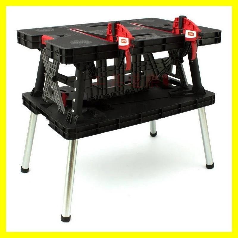組裝只要30秒 ★新莊-工具道樂★ 以色列製 快速工作桌(組合/收納) 免用工具 攜帶方便 附快速夾具二支 - 露天拍賣