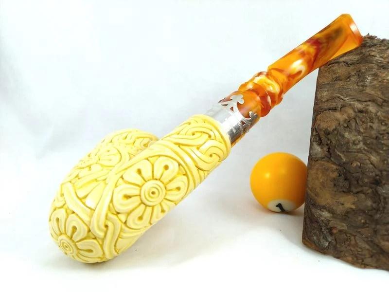 球球玉米斗 土耳其 海泡石煙斗 (巨型海泡系列-雕花雙銀飾 TUM009) | 露天拍賣