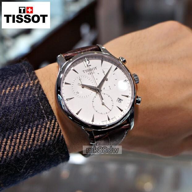 TISSOT/天梭手錶 三眼手錶 瑞士原裝男皮帶手錶 真三眼日期 超薄T063.617.16.037.00 - 露天拍賣