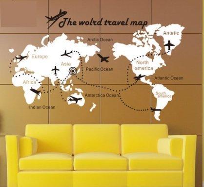 小妮子的家@環遊世界飛機世界地圖壁貼/牆貼/玻璃貼/磁磚貼/家具貼 | 露天拍賣