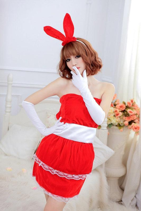 紅色兔女郎角色扮演服裝 (S109) - 露天拍賣