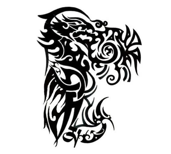 【LA TATTOO】黑色龍形大塊圖騰左半甲手臂大圖 - 男女防水紋身貼紙原宿刺青貼紙K01 - 露天拍賣