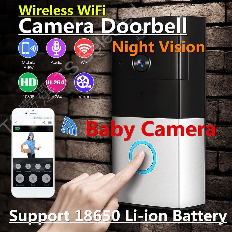 18650 WIFI 可視門鈴 寶寶監視器 攝影機 手機遠端監控 鋰電池 針孔攝影機 蒐證攝影機 看店 doorbell - 露天拍賣