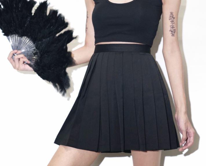 【黑殿】日系黑色百褶裙學院風黑色高腰百褶裙 百搭單品高腰顯瘦百褶裙ZY123 - 露天拍賣