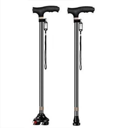 老人拐杖四腳伸縮手杖老年人扙鋁合金輕便多功能燈防滑拐棍—我的小鋪 - 露天拍賣