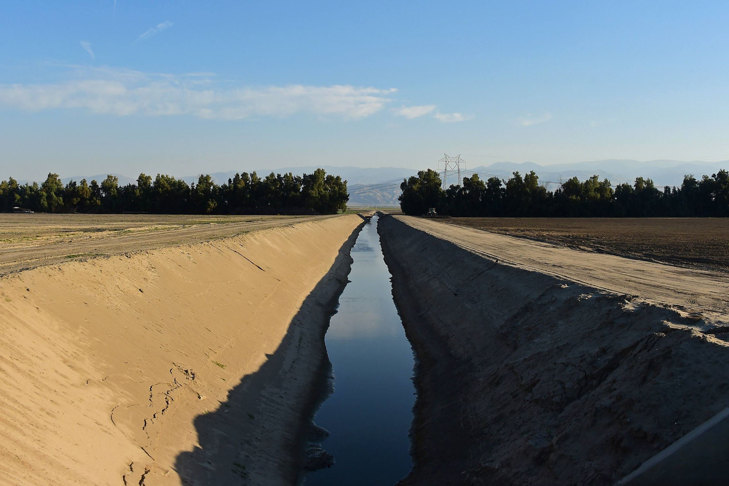 A visible lowering water level in an irrigation channel in Bakersfield, California, in March, 2015.