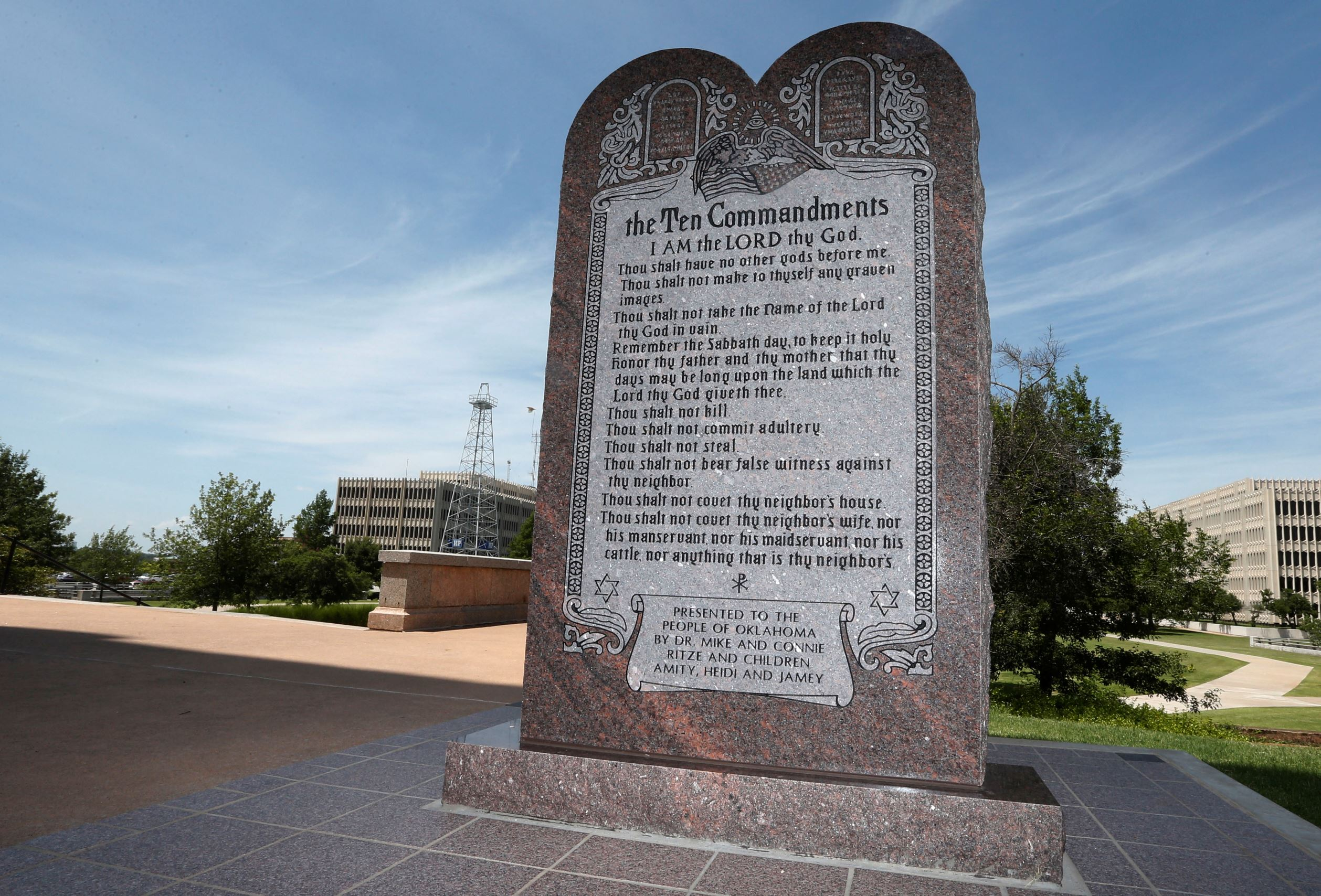 The Ten Commandments monument at the state Capitol in Oklahoma City.